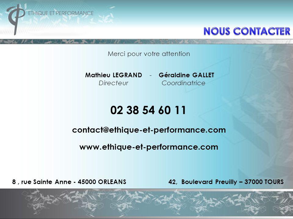 Merci pour votre attention Mathieu LEGRAND - Géraldine GALLET Directeur Coordinatrice 02 38 54 60 11 contact@ethique-et-performance.com www.ethique-et