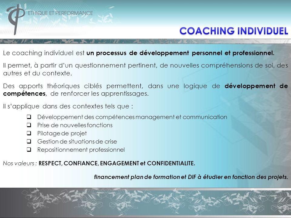 Le coaching individuel est un processus de développement personnel et professionnel. Il permet, à partir dun questionnement pertinent, de nouvelles co