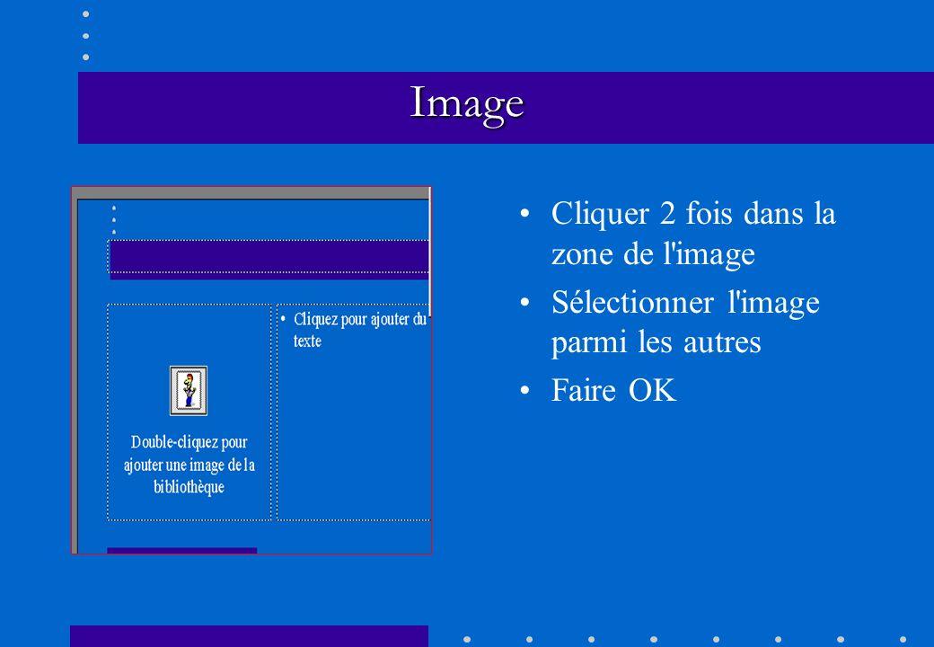 Image Cliquer 2 fois dans la zone de l'image Sélectionner l'image parmi les autres Faire OK
