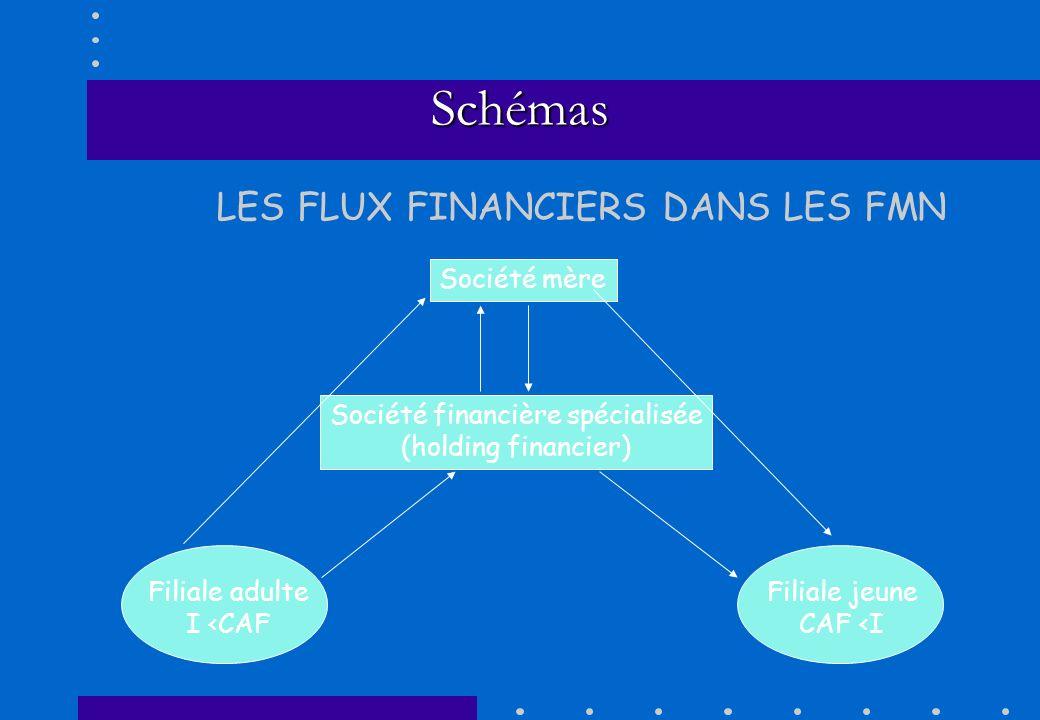 Schémas Société mère Société financière spécialisée (holding financier) Filiale adulte I <CAF Filiale jeune CAF <I LES FLUX FINANCIERS DANS LES FMN
