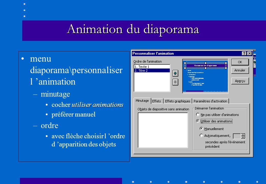 menu diaporama\personnaliser l animation –minutage utiliser animationscocher utiliser animations préférer manuel –ordre avec flèche choisir l ordre d
