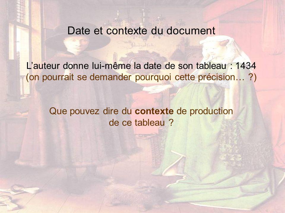 Date et contexte du document Lauteur donne lui-même la date de son tableau : 1434 (on pourrait se demander pourquoi cette précision… ?) Que pouvez dir
