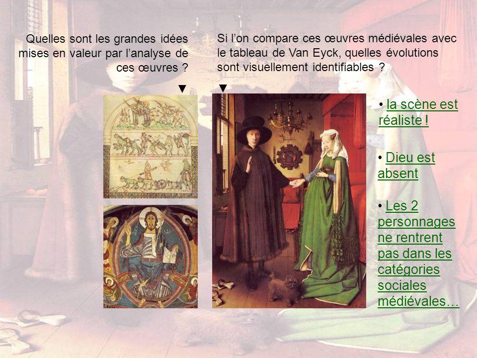 Quelles sont les grandes idées mises en valeur par lanalyse de ces œuvres ? Si lon compare ces œuvres médiévales avec le tableau de Van Eyck, quelles
