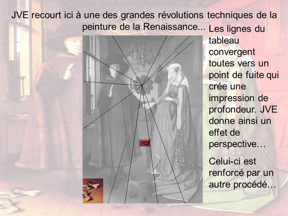 JVE recourt ici à une des grandes révolutions techniques de la peinture de la Renaissance... Les lignes du tableau convergent toutes vers un point de