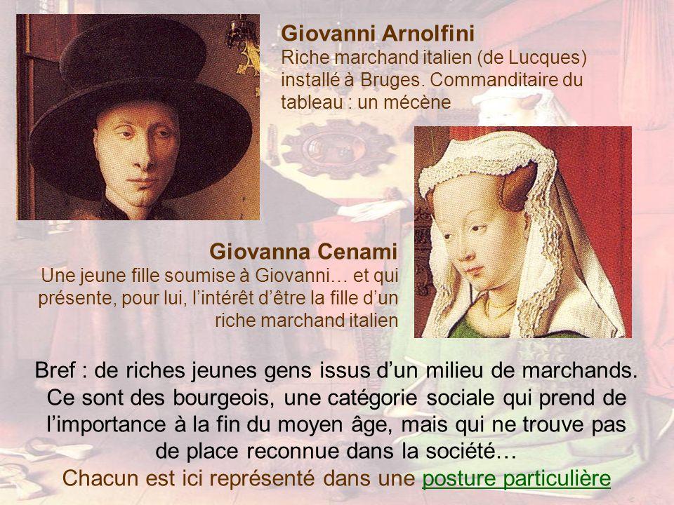 Giovanni Arnolfini Riche marchand italien (de Lucques) installé à Bruges. Commanditaire du tableau : un mécène Giovanna Cenami Une jeune fille soumise