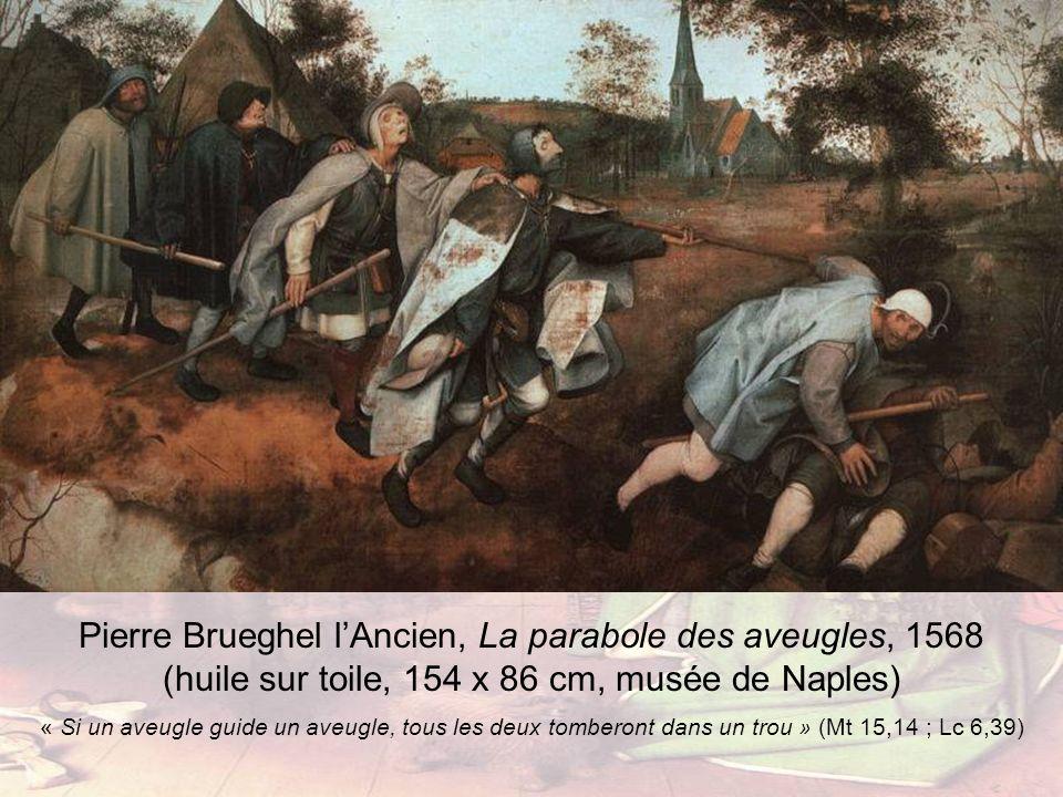 Pierre Brueghel lAncien, La parabole des aveugles, 1568 (huile sur toile, 154 x 86 cm, musée de Naples) « Si un aveugle guide un aveugle, tous les deu