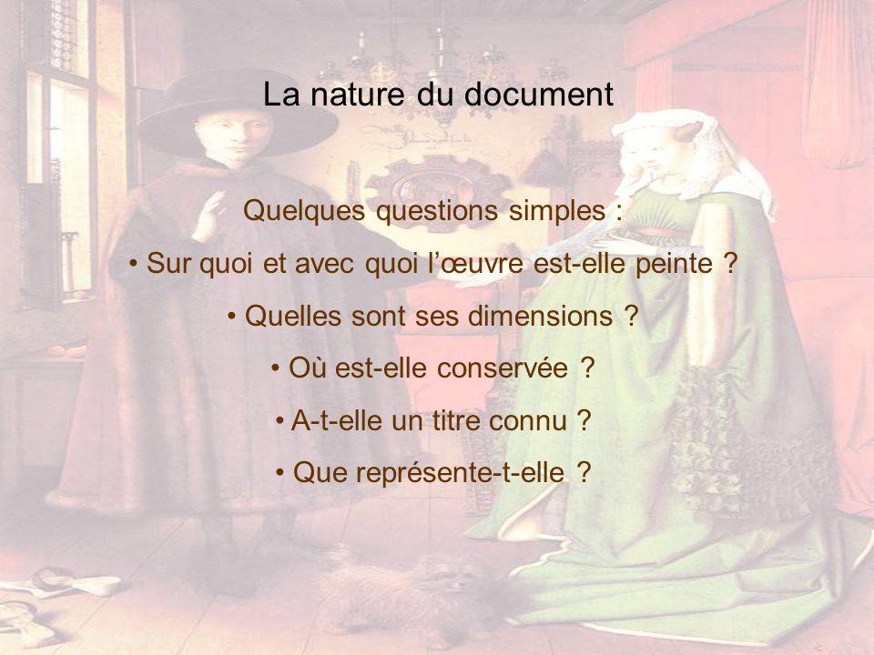 La nature du document Quelques questions simples : Sur quoi et avec quoi lœuvre est-elle peinte ? Quelles sont ses dimensions ? Où est-elle conservée
