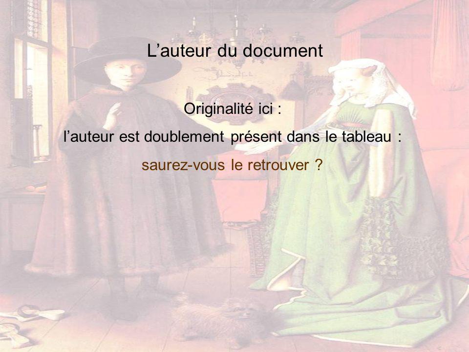 Lauteur du document Originalité ici : lauteur est doublement présent dans le tableau : saurez-vous le retrouver ?