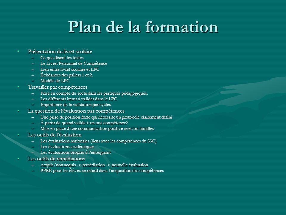 Plan de la formation Présentation du livret scolairePrésentation du livret scolaire –Ce que disent les textes –Le Livret Personnel de Compétence –Lien
