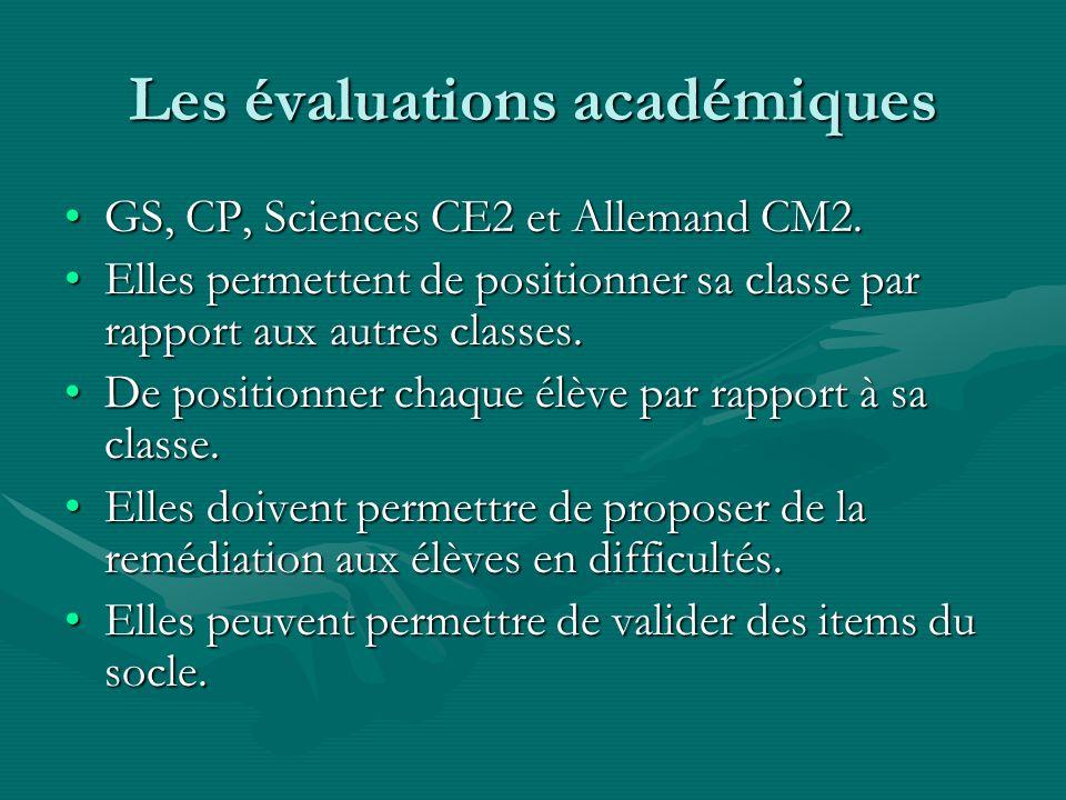 Les évaluations académiques GS, CP, Sciences CE2 et Allemand CM2.GS, CP, Sciences CE2 et Allemand CM2. Elles permettent de positionner sa classe par r