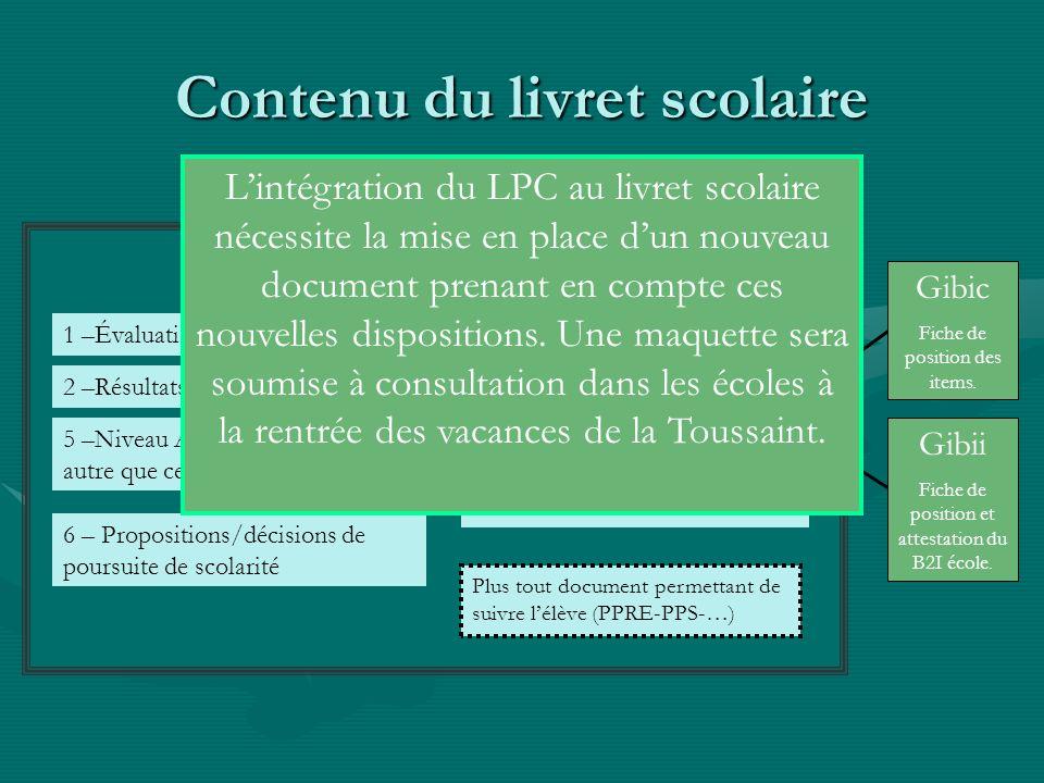 Contenu du livret scolaire Livret Scolaire 1 –Évaluations périodiques 2 –Résultats Eval. Nat.CE1-CM2 6 – Propositions/décisions de poursuite de scolar