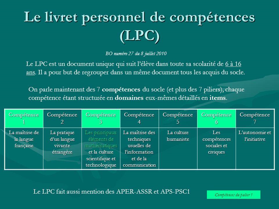 Le livret personnel de compétences (LPC) Le LPC est un document unique qui suit lélève dans toute sa scolarité de 6 à 16 ans. Il a pour but de regroup