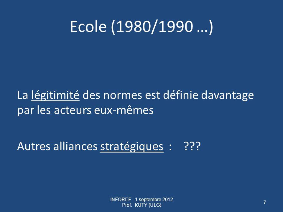 Ecole (1980/1990 …) La légitimité des normes est définie davantage par les acteurs eux-mêmes Autres alliances stratégiques : .