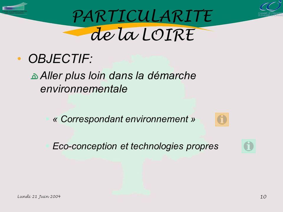 Lundi 21 Juin 2004 10 PARTICULARITE de la LOIRE OBJECTIF: Aller plus loin dans la démarche environnementale « Correspondant environnement » Eco-conception et technologies propres