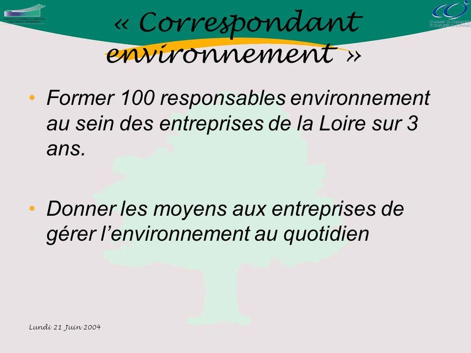 Lundi 21 Juin 2004 « Correspondant environnement » Former 100 responsables environnement au sein des entreprises de la Loire sur 3 ans.