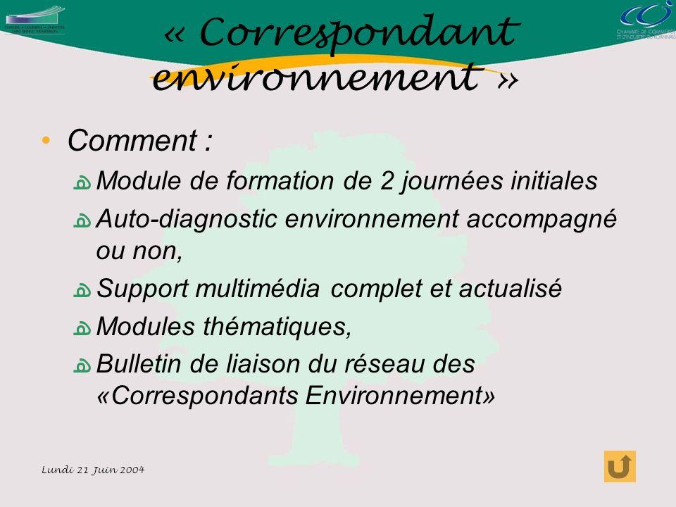 Lundi 21 Juin 2004 « Correspondant environnement » Comment : Module de formation de 2 journées initiales Auto-diagnostic environnement accompagné ou non, Support multimédia complet et actualisé Modules thématiques, Bulletin de liaison du réseau des «Correspondants Environnement»
