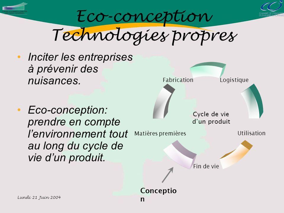 Lundi 21 Juin 2004 Eco-conception Technologies propres Inciter les entreprises à prévenir des nuisances.