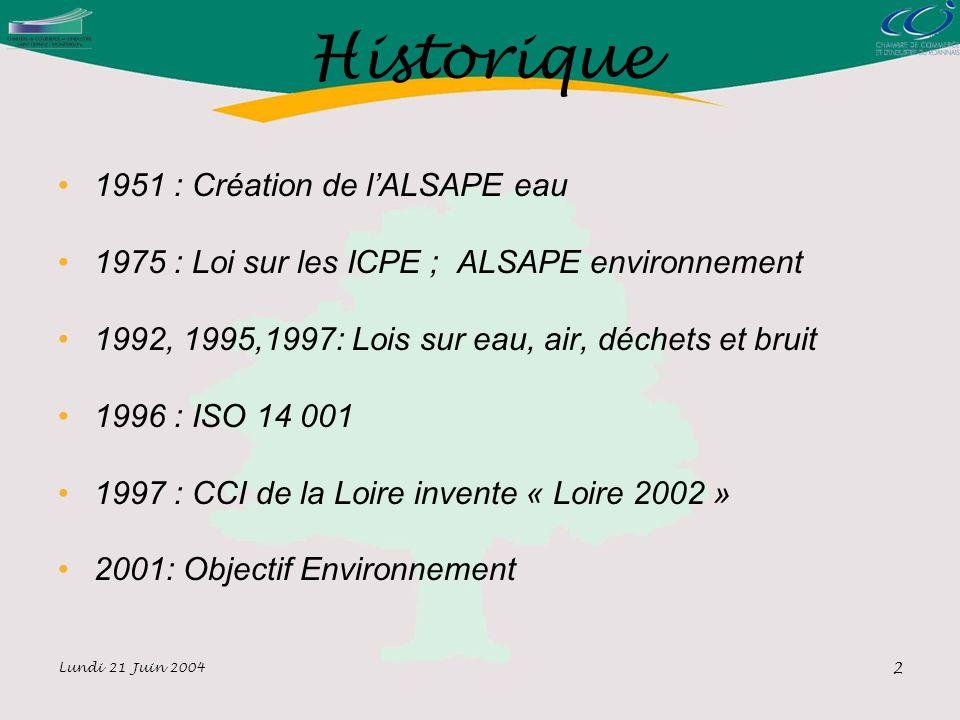 Lundi 21 Juin 2004 2 Historique 1951 : Création de lALSAPE eau 1975 : Loi sur les ICPE ; ALSAPE environnement 1992, 1995,1997: Lois sur eau, air, déchets et bruit 1996 : ISO 14 001 1997 : CCI de la Loire invente « Loire 2002 » 2001: Objectif Environnement