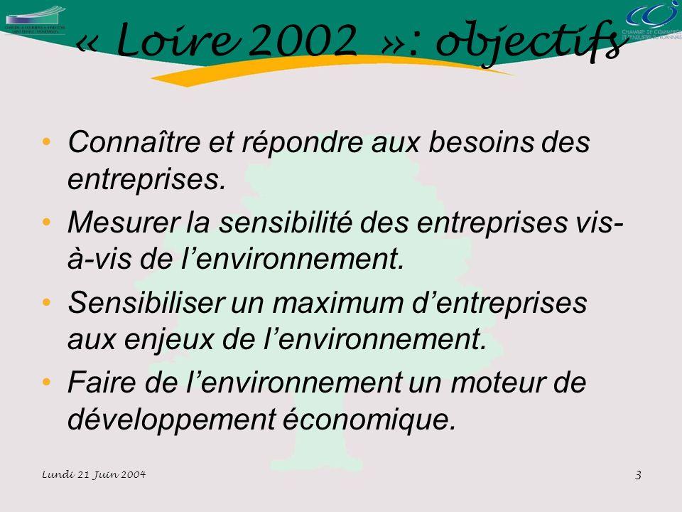 Lundi 21 Juin 2004 3 « Loire 2002 »: objectifs Connaître et répondre aux besoins des entreprises.