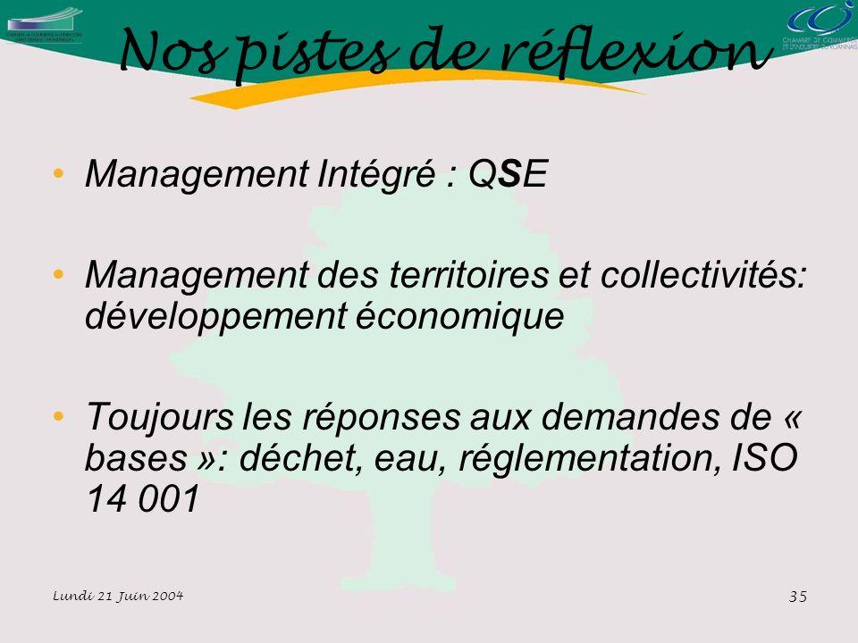 Lundi 21 Juin 2004 35 Nos pistes de réflexion Management Intégré : QSE Management des territoires et collectivités: développement économique Toujours les réponses aux demandes de « bases »: déchet, eau, réglementation, ISO 14 001