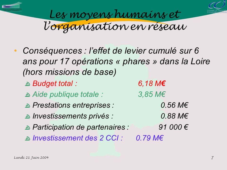 Lundi 21 Juin 2004 7 Les moyens humains et lorganisation en réseau Conséquences : leffet de levier cumulé sur 6 ans pour 17 opérations « phares » dans la Loire (hors missions de base) Budget total : 6,18 M Aide publique totale : 3,85 M Prestations entreprises : 0.56 M Investissements privés : 0.88 M Participation de partenaires : 91 000 Investissement des 2 CCI : 0.79 M