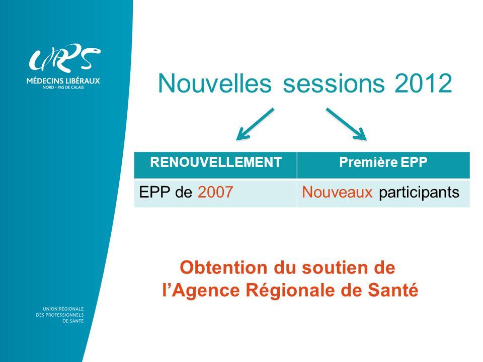 RENOUVELLEMENTPremière EPP EPP de 2007Nouveaux participants Nouvelles sessions 2012 Obtention du soutien de lAgence Régionale de Santé