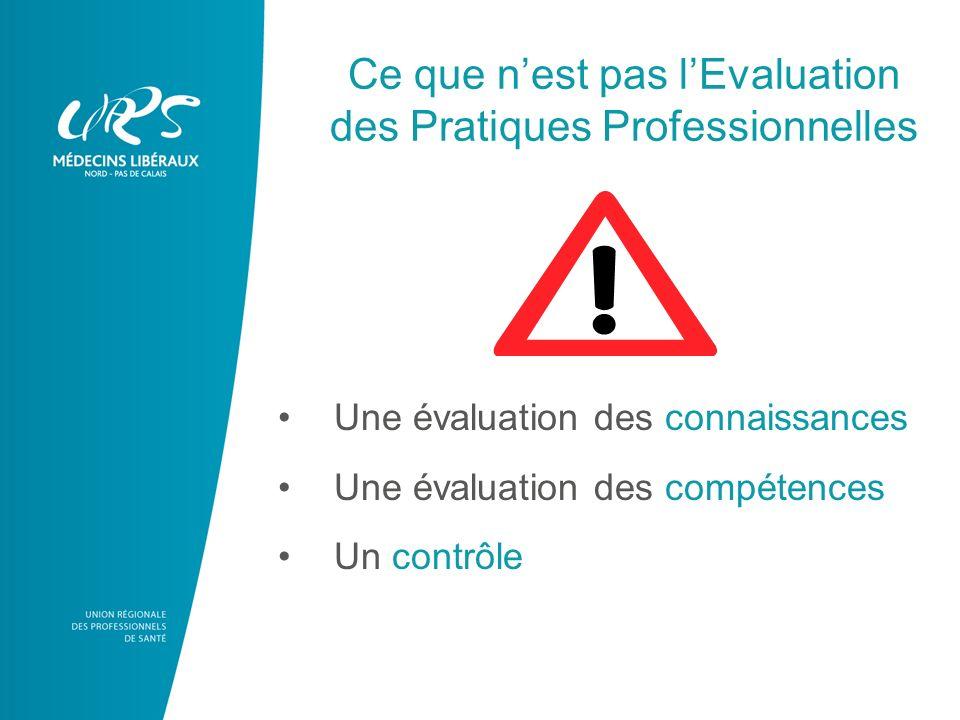 Ce que nest pas lEvaluation des Pratiques Professionnelles Une évaluation des connaissances Une évaluation des compétences Un contrôle