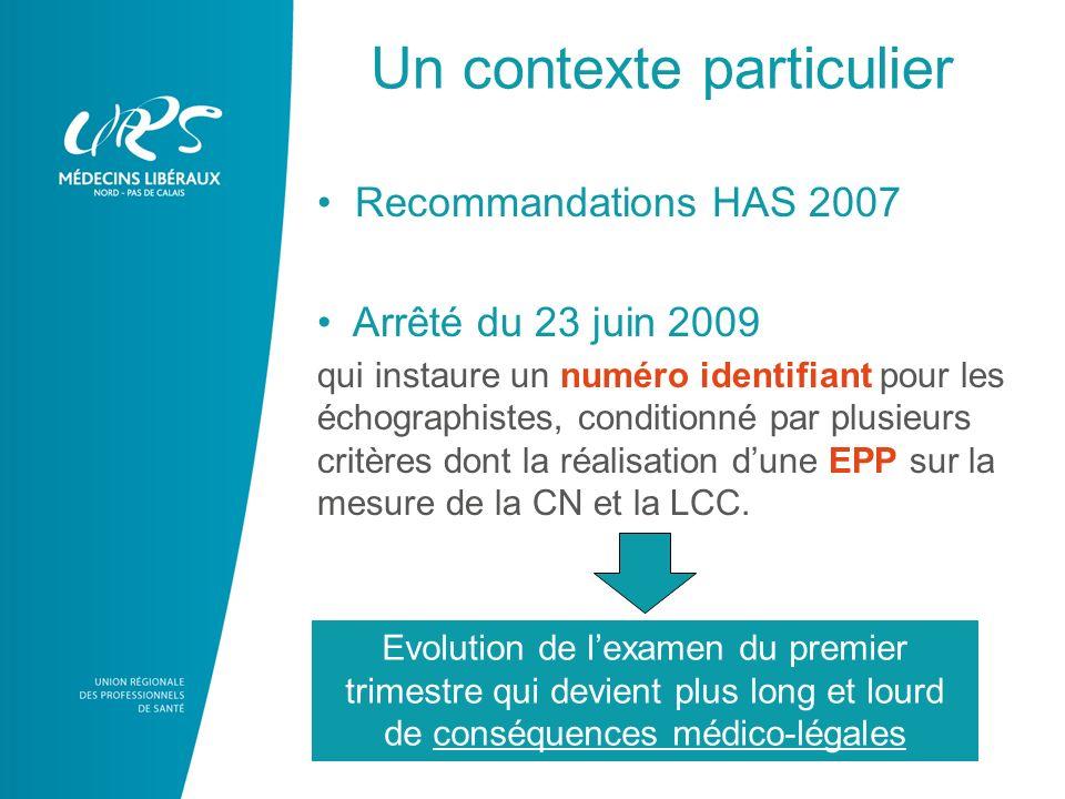 Un contexte particulier Recommandations HAS 2007 Arrêté du 23 juin 2009 qui instaure un numéro identifiant pour les échographistes, conditionné par plusieurs critères dont la réalisation dune EPP sur la mesure de la CN et la LCC.