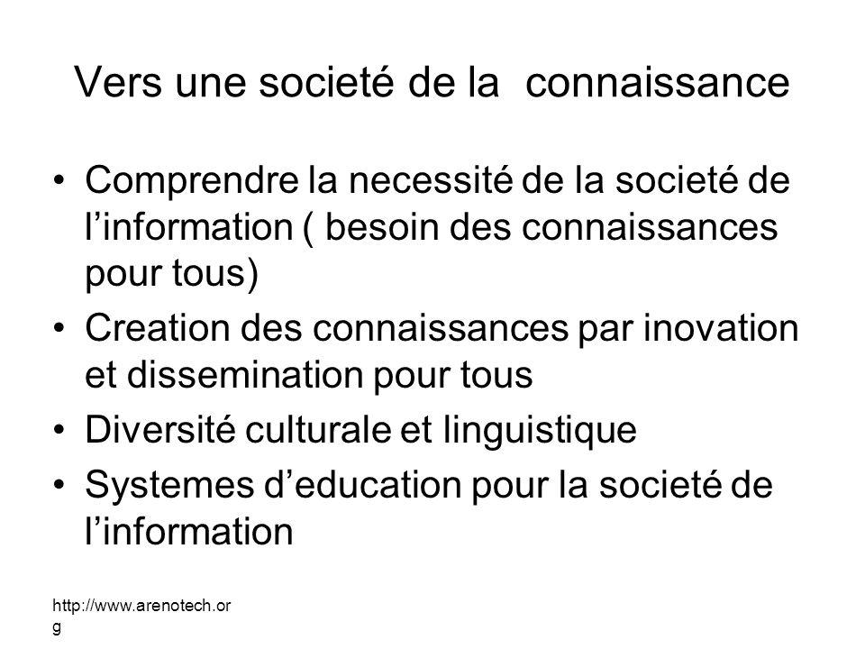 http://www.arenotech.or g Vers une societé de la connaissance Comprendre la necessité de la societé de linformation ( besoin des connaissances pour to