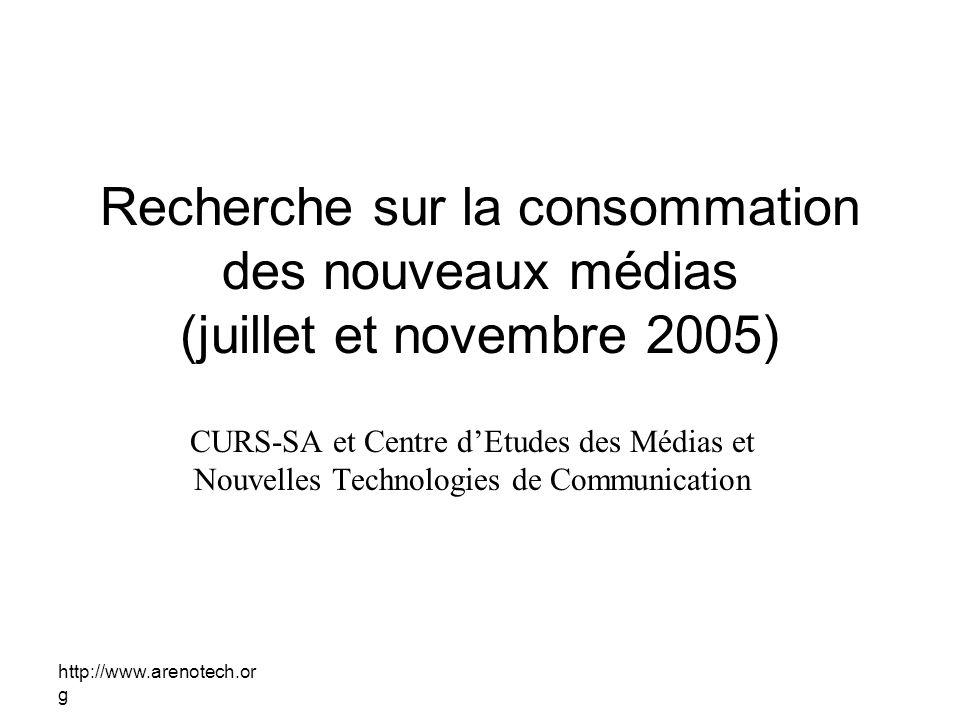 http://www.arenotech.or g Recherche sur la consommation des nouveaux médias (juillet et novembre 2005) CURS-SA et Centre dEtudes des Médias et Nouvelles Technologies de Communication