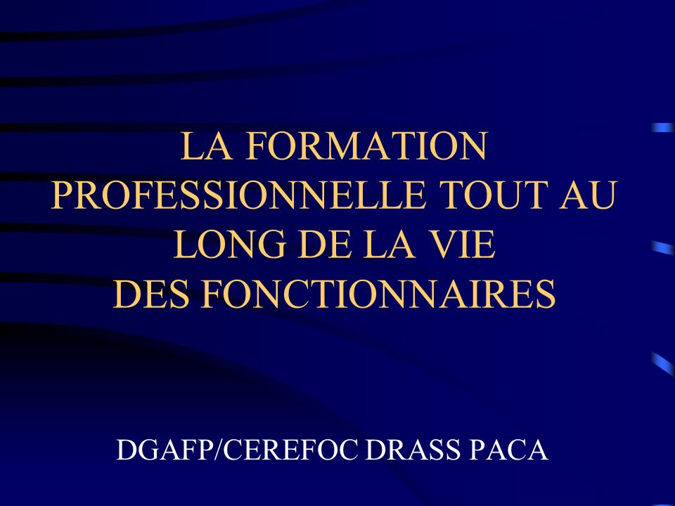 LA FORMATION PROFESSIONNELLE TOUT AU LONG DE LA VIE DES FONCTIONNAIRES DGAFP/CEREFOC DRASS PACA