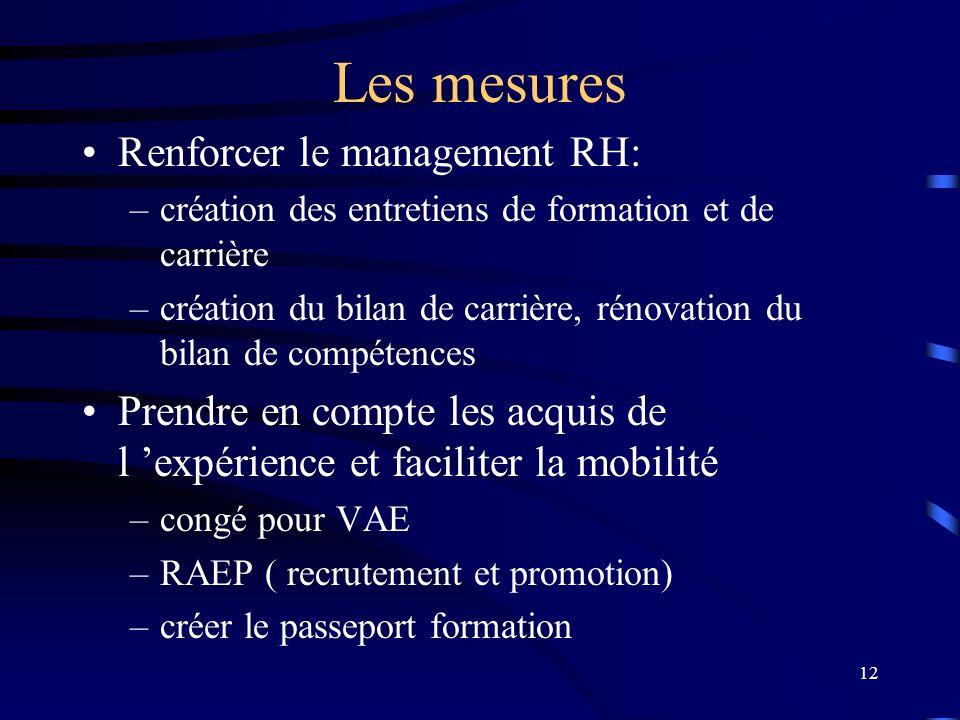 12 Les mesures Renforcer le management RH: –création des entretiens de formation et de carrière –création du bilan de carrière, rénovation du bilan de
