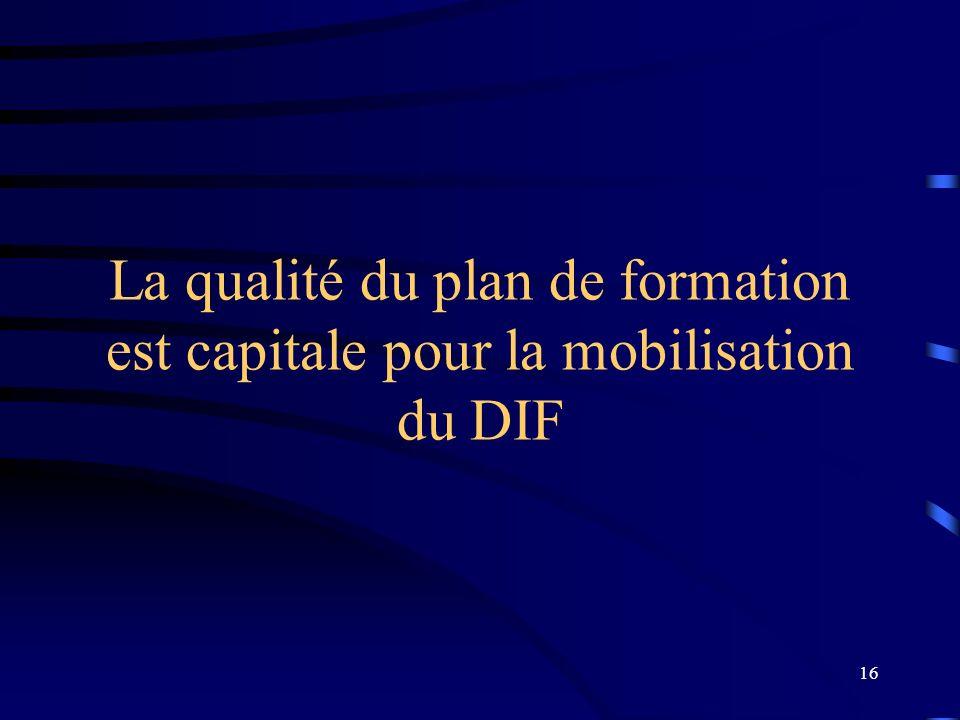 16 La qualité du plan de formation est capitale pour la mobilisation du DIF