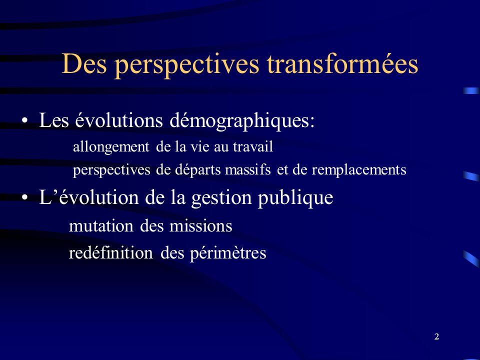 2 Des perspectives transformées Les évolutions démographiques: allongement de la vie au travail perspectives de départs massifs et de remplacements Lé