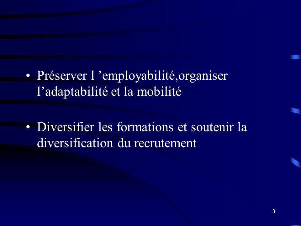3 Préserver l employabilité,organiser ladaptabilité et la mobilité Diversifier les formations et soutenir la diversification du recrutement