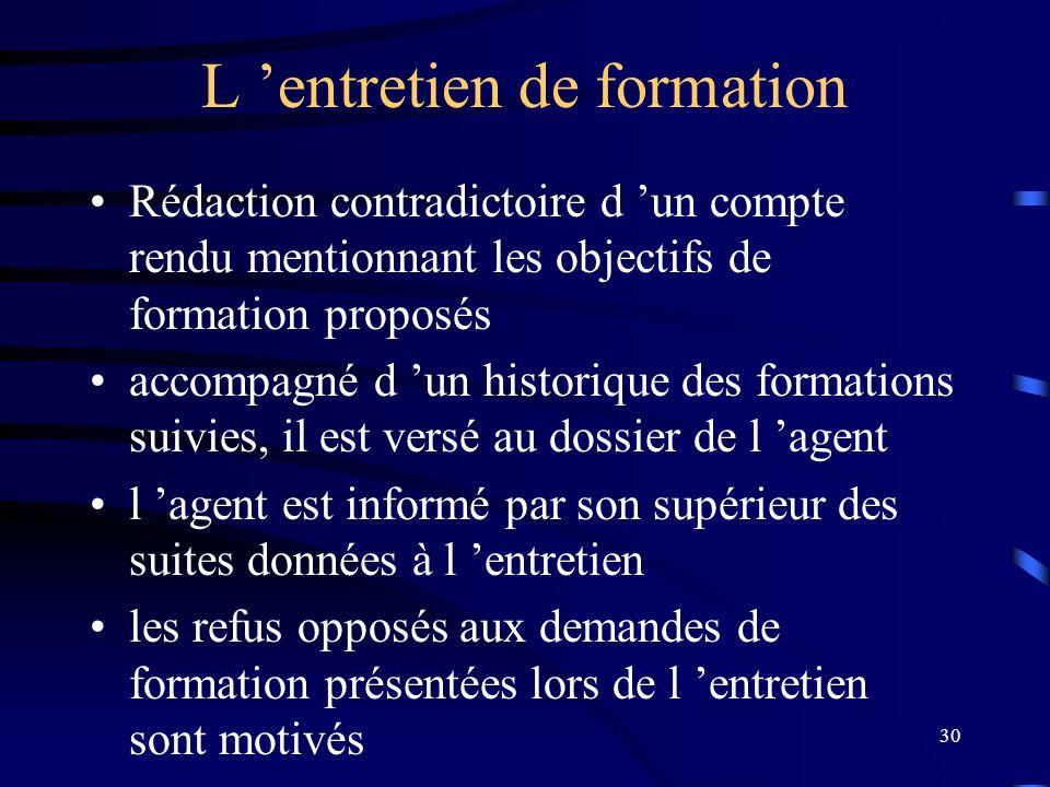 30 L entretien de formation Rédaction contradictoire d un compte rendu mentionnant les objectifs de formation proposés accompagné d un historique des