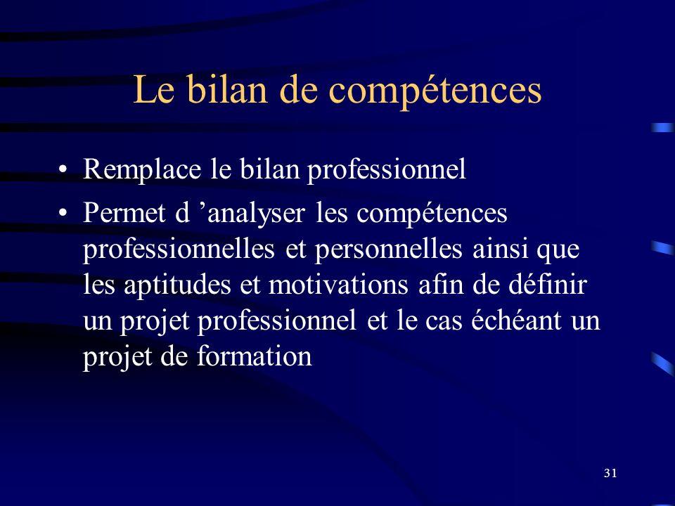 31 Le bilan de compétences Remplace le bilan professionnel Permet d analyser les compétences professionnelles et personnelles ainsi que les aptitudes