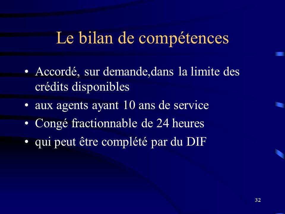 32 Le bilan de compétences Accordé, sur demande,dans la limite des crédits disponibles aux agents ayant 10 ans de service Congé fractionnable de 24 he