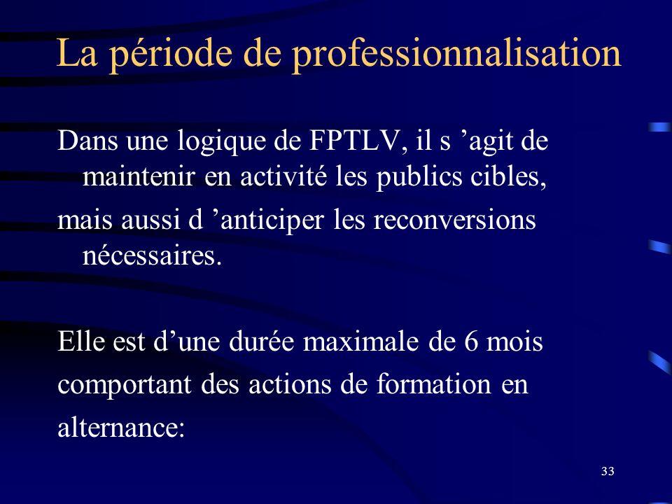 33 La période de professionnalisation Dans une logique de FPTLV, il s agit de maintenir en activité les publics cibles, mais aussi d anticiper les rec