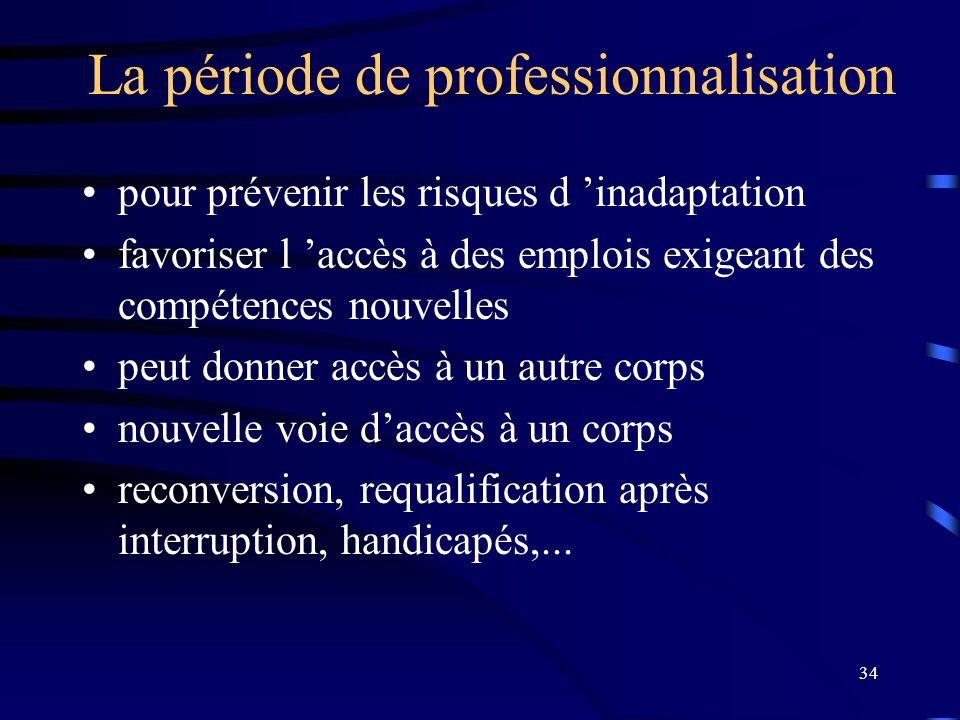 34 La période de professionnalisation pour prévenir les risques d inadaptation favoriser l accès à des emplois exigeant des compétences nouvelles peut