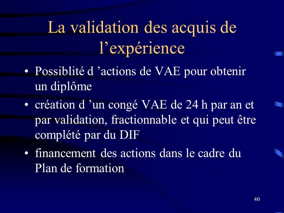 40 La validation des acquis de lexpérience Possiblité d actions de VAE pour obtenir un diplôme création d un congé VAE de 24 h par an et par validatio