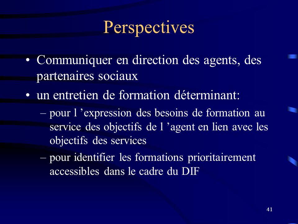 41 Perspectives Communiquer en direction des agents, des partenaires sociaux un entretien de formation déterminant: –pour l expression des besoins de