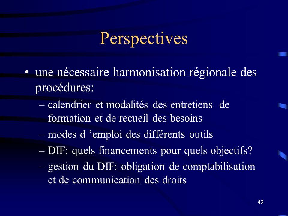 43 Perspectives une nécessaire harmonisation régionale des procédures: –calendrier et modalités des entretiens de formation et de recueil des besoins