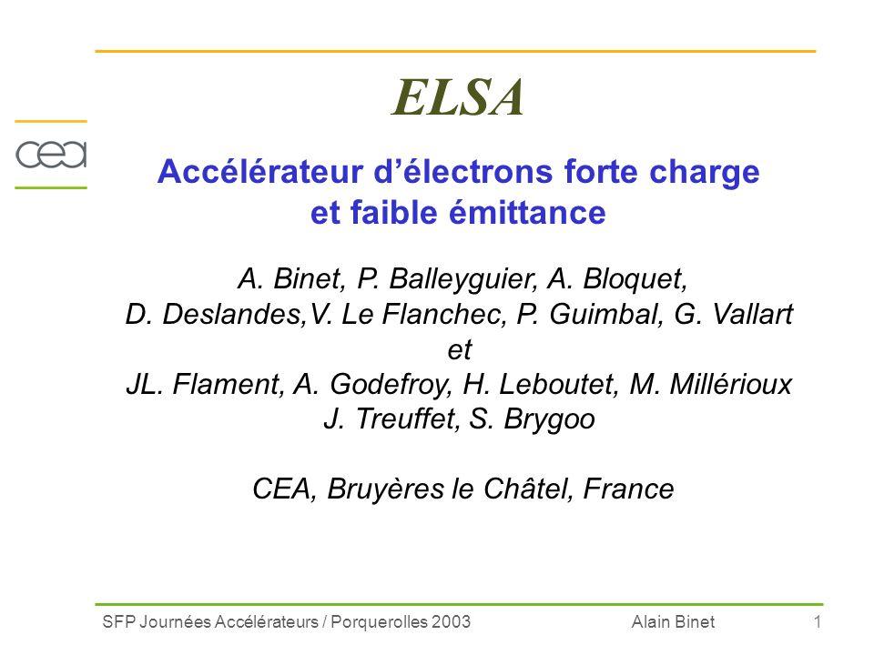 SFP Journées Accélérateurs / Porquerolles 2003 Alain Binet1 ELSA Accélérateur délectrons forte charge et faible émittance A. Binet, P. Balleyguier, A.