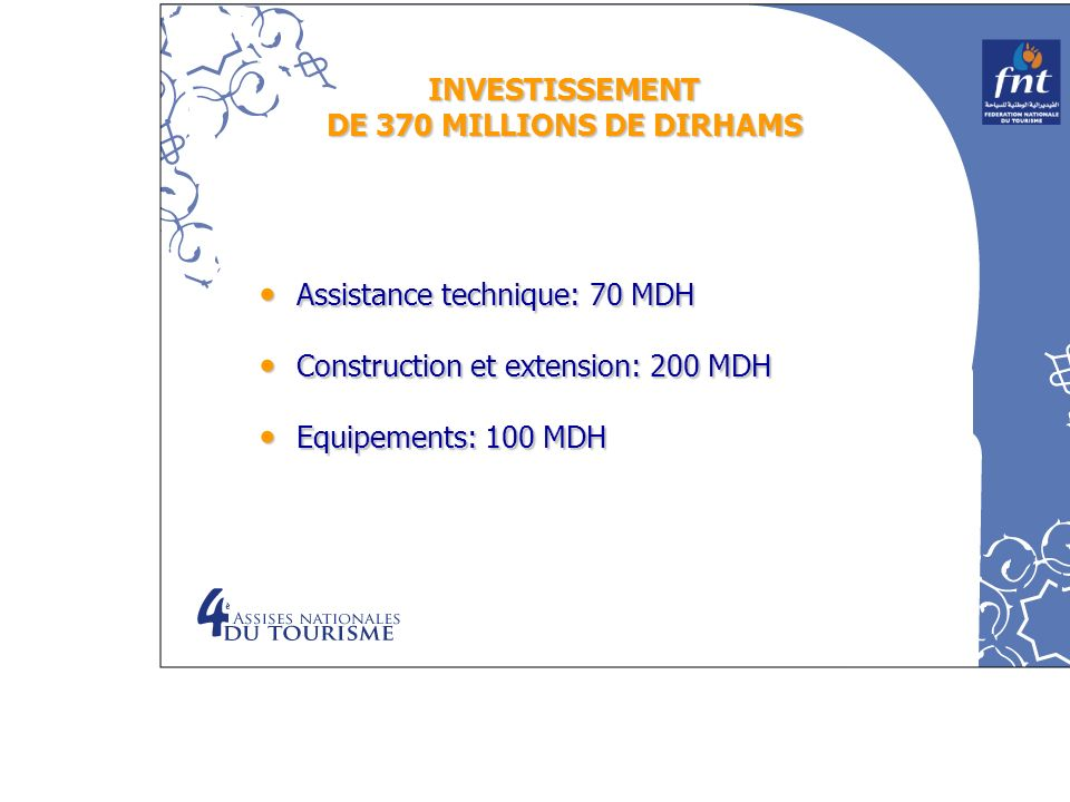 INVESTISSEMENT DE 370 MILLIONS DE DIRHAMS Assistance technique: 70 MDH Assistance technique: 70 MDH Construction et extension: 200 MDH Construction et