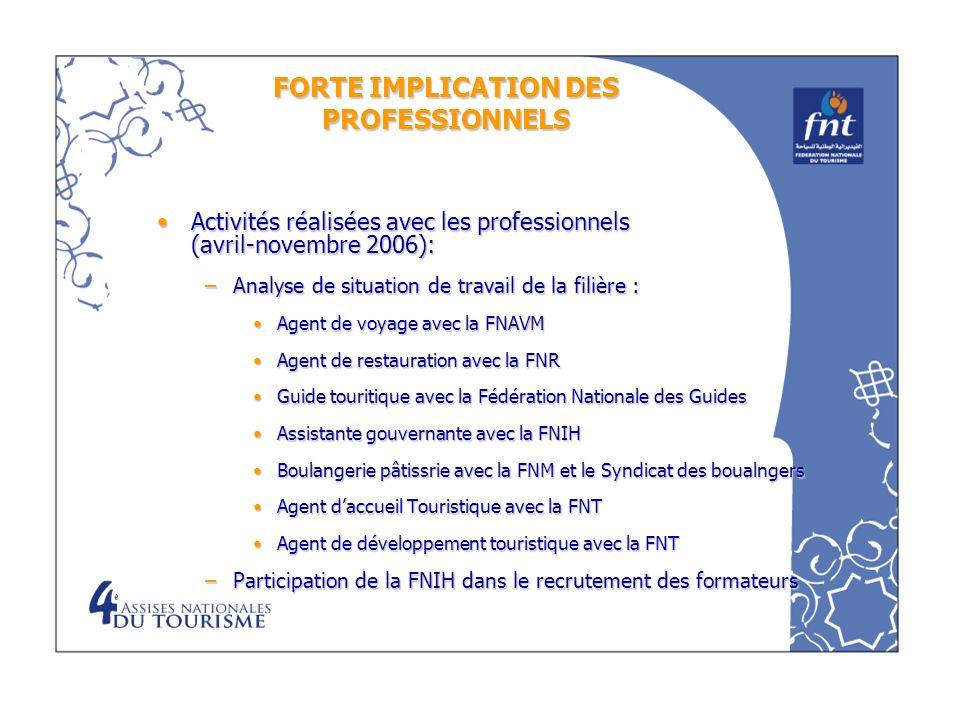 FORTE IMPLICATION DES PROFESSIONNELS Activités réalisées avec les professionnels (avril-novembre 2006):Activités réalisées avec les professionnels (av
