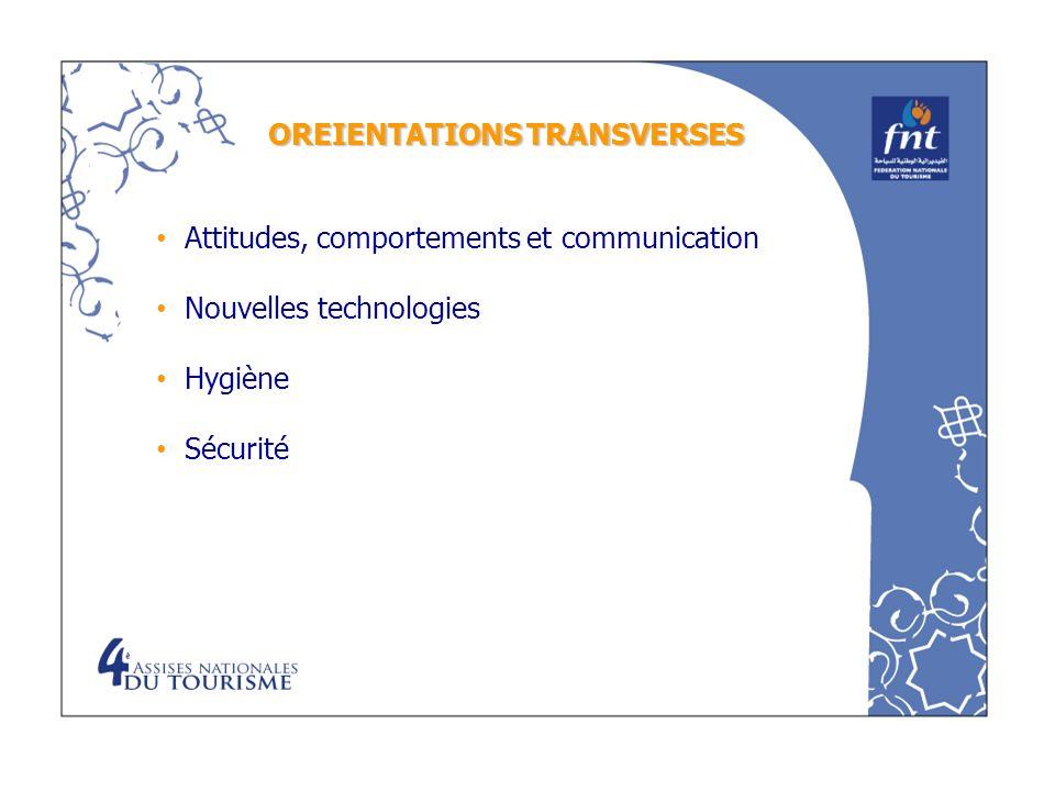 OREIENTATIONS TRANSVERSES Attitudes, comportements et communication Nouvelles technologies Hygiène Sécurité
