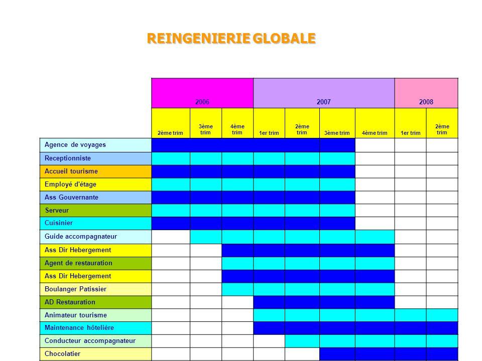 REINGENIERIE GLOBALE 200620072008 2ème trim 3ème trim 4ème trim1er trim 2ème trim3ème trim4ème trim1er trim 2ème trim Agence de voyages Receptionniste