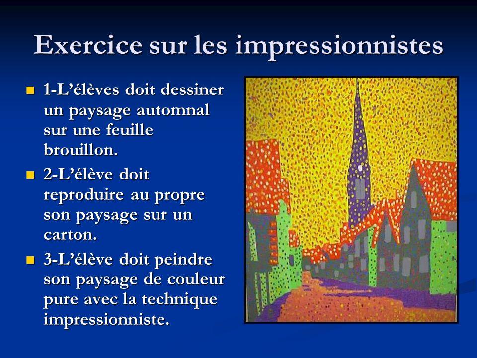 Exercice sur les impressionnistes 1-Lélèves doit dessiner un paysage automnal sur une feuille brouillon. 1-Lélèves doit dessiner un paysage automnal s