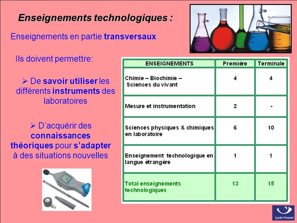 Enseignements technologiques : Enseignements en partie transversaux Ils doivent permettre: De savoir utiliser les différents instruments des laboratoi